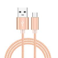 ingrosso cavo mini usb rosa-Tipo di cellulare Cavo USB Custodia in metallo nylon intrecciato cavo mini USB durevole in scatola ad alta velocità di ricarica cavo USB C per smartphone Android