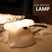 Vente en gros- Cute Dog Capacité de détection de chaise capillaire USB Dimmable Doggy Night Light Puppy LED Light pour bébé / Kids Bedroom Dog Bone Desk Night Lamp