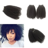 Wholesale afro weaves for black hair online - 4 Bundles Afro Kinky Curly Human Hair Weave for Black Women Peruvian Virgin Hair Bundles inch No Tangle FDSHINE