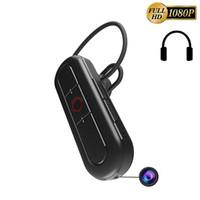 Wholesale Video Camera Headset - 32GB 1080P Spy Hidden Camera Wireless Functional Bluetooth Headset Earphone Mini Surveillance Camcorder Portable Pinhole Video Recorder
