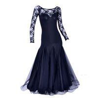 Wholesale Ballroom Skirt Long - Original Modern Dance Dress For Ladies Black Green Long Sleeve Fabric Skirt Durable Women Feminine Ballroom Comfort Dress Q5003