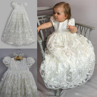 Wholesale Tea Length Actual Image - Luxury Full Lace 2017 Baby Christening Gowns With Sleeve Jewel Neck Baptism Dresses Long Flower Girl Formal Communication Party Gowns Cheap