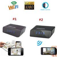 Wholesale Time Clocks Wifi - 1080P P2P Wifi Pinhole Hidden Alarm Clock Camera Mini Spy Clock Camera Nanny Cam P2P Video Recorder Remote Control by APP Real-time Viewing