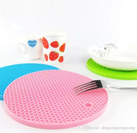 Wholesale placemat silicone - Newest 2017 Round Silicone Non-Slip Heat Resistant Pot Table Mats Holder Coaster Cushion Placemat Pot Table Mat Silicone Placemat