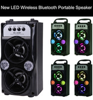 Wholesale super bass mp3 player online - LED Wireless Bluetooth Portable Speaker with USB TF AUX FM Radio MS BT Outdoor Super Bass Black