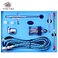 Wholesale painting spray guns - Wholesale- Dual Action Airbrush Compressor Kit 0.2 0.3 0.5mm Needle 7cc&22cc Side Cup Air Brush Spray Gun For Model Body Paint Art SP134K