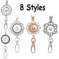 Prata Rose Gold Color Rhinestone Round Flower Pattern Snap Jóias Lanyard Keychain para ID Badge Holder Fit Snap Button Jóias N170S
