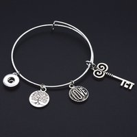 Wholesale Expandable Rings - Bangles Silver Plated Expandable Bangle Bracelet Noosa Snap Button Bracelets Bangle life tree love key YD313