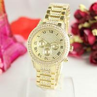 Wholesale Fake Tags - Fashion luxury watch dress lady women watches famous brand diamonds dial fake three eyes gold casual quartz wristwatches for women girl