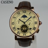 Luxury sports hong kong - CASENO Watch Mens Hong Kong Top Brand Luxury Tourbillon Automatic Mechanical Men Watch Fashion Rome Style Skeleton Leather Sport Wrist watch