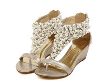 Wholesale Gold T Strap Wedge - New Rome Shiny Beaded Wedge Sandals low-heeled wedding shoes