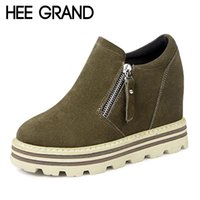Wholesale Wedge Platform Boots Vintage - Wholesale- HEE GRAND Platform Women Boots Creepers 2016 Ankle Boots Casual Shoes Woman Slip On Flats Vintage Wedges Women Shoes XWX4705