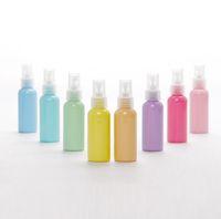 boş su şişesi spreyi toptan satış-Toptan Packi şişesi, Macaron PET sprey şişesi, 50 ml ultra-ince sis Toner ikmal su sprey kutuları, kozmetik şişeleri boş şişeler