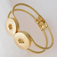Wholesale Cheap Chunk Bracelets Buttons - Gold Snap Bangles Silver Plated High Quality DIY Snap Jewelry Double Snap Buttons Noosa Chunk Bracelets 2 Colors Gold and Silver Cheap