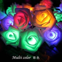 Al por mayor- 10/20/40 LED Rose Flower String bombillas led Año Nuevo Navidad Garland Lights Decoration Party Holidays living room plastic