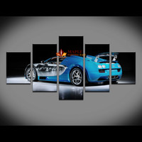 Wholesale Hd Car Pictures - 5 Panel HD Canvas Prints Luxury Sport Sedan Car Canvas Oil Painting Wall Art Picture For Living Room Modern Prints On Canvas