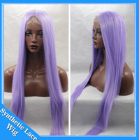 Wholesale Cosplay Purple Straight Wig - Long Purple Wig Cosplay Manga Gin Tama-Sarutobi Ayame Straight Pure color Synthetic Heat resistant Light Purple Lace Front Synthetic wigs