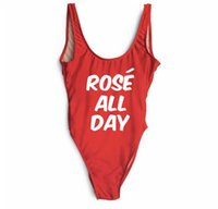 Wholesale High Rise Swimsuits - Rose all day three - row alphabet printing letters swimsuit bikini female