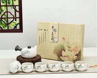 Wholesale Kung Fu Teapot Set China - Dehua Ceramic Kung Fu Teaset China Porcelain Snowflakes Glazed Whole Set of Tureen Teapot Tea Cup