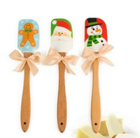 Wholesale Cake Knife Wooden Handle - Christmas Design Food Grade Non-stick Cake&Butter Knife Butter Spatula, Wooden Handle Silicone Scraper Kitchen baking Tools
