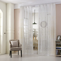 Wholesale White Window Panels - Modern White Curtains Clearance Curtains Pastoral Curtain Blinds Embroidery Living Room Bedroom French Window Drapes 42W 50W 72W 1 Panel