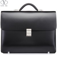 Atacado- YINTE Leather Black Briefcase Leather Men's Business Handbag High Quality Lawyer Bag 14 Laptop Document Case Portfolio T8553-5