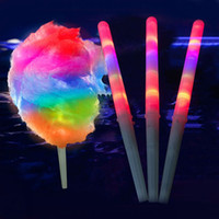 Wholesale Candy Floss Sticks - 28cm*1.75cm Christmas Party LED Stick LED flashing Cotton Candy Fairy Floss Stick Glow Stick For Cotton Candy