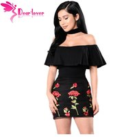 Wholesale Embroidered Night Dresses - Dear-Lover Little Black Dress 2017 Hot Off Shoulder Summer Night Clubwear Sexy Ruffle Floral Embroidered Zip Mini Dress LC220005 17410