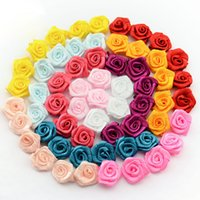 Wholesale 15mm Rosette - Wholesale- 15mm 100pcs lot Handmade Satin Rose Ribbon Rosettes Fabric Flower Bow Appliques Wedding Decor Craft Sewing Accessories DIY 1-35