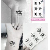 Wholesale Imperial Crown Tattoos - Fashion Imperial Crown Fast Fake Tattoo Small Scars Cover Body Art Tattoo Stickers Waterproof 50pcs lot free ship