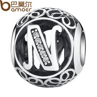 "Wholesale N 925 - Wholesale- BAMOER 925 Sterling Silver Letter Collocation Bead ""N"" Alphabet Bead Charms fit DIY Bracelets & Bangles DIY Jewelry PSC008-N"