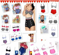 Wholesale High Quality Swimwear Wholesale - High Quality 19 Design Fashion Cutest Retro Swimsuit Swimwear Vintage Pin Up High Waist Bikini Set HH 500Set
