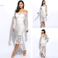 Wholesale Sexy Going Out Dresses - 2017 off white party dresses for women clothing high low dress Off The Shoulder Ruffles Belted Going Out Short Sleeve Plus Size