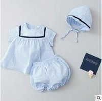 Compra Outwear Boutique-Baby Outfits Hat 2017 Summer Striped Girls Clothing Sets 3 pezzi Suit Cotton Outwear Shorts Sets Neonate Vestiti Boutique Abbigliamento 202