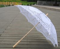 novias sombrillas al por mayor-Battenburg encaje sombrilla y ventilador conjunto de sombrilla de sol Novia tamaño adulto Vintage