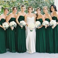 Wholesale color 69 - Hunter Green Chiffon Long Cheap $69 Bridesmaid Dresses Custom Made Floor Length A Line Prom Sweetheart Zipper Back Wedding Guest Dresses