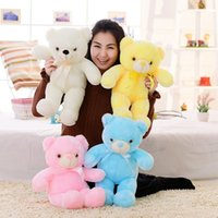 Wholesale Teddy Bear Romantic - Wholesale- 1pc 50cm Romantic Colorful Flashing LED Night Light Luminous Stuffed Plush Toys Teddy Bear Doll Lovely Gifts for Kids and Friend