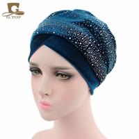 Wholesale Dotted Hat Scarf - New Luxury Women Velvet Turban Headband Diamante Studded Extra Long Velvet Turban Head Wraps Hijab Head Scarf Turbante