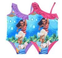 Wholesale Bikini 14 - Kids Clothing One Piece Swim Moana Trolls Baby Girl Bikini Top Quality Kids Bathing Children Swimsuits 14 Style DHL Free Shipping