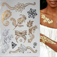 Wholesale Henna Temporary Tattoos Stickers - Hot Flash Metallic Waterproof Temporary Tattoo Gold Silver Tatoo Women Henna Flower Taty Design Tattoo Sticker