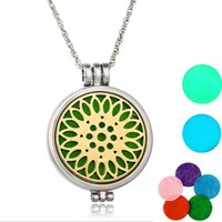 "Wholesale Sun Flower Charm Necklaces - NEW Aromatherapy Essential Oil Diffuser Necklace Locket Sun flower Stainless Jewelry with 24"" Chain and 5 Washable Pads 2 Noctilucent Pads"