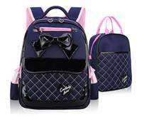 Wholesale Canvas School Book Bags Wholesale - Children school bags fashion school backpacks high quality PU children bags kids BOWS shoulder backpack child book bag T4355