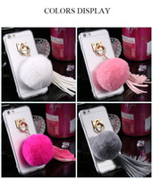 Wholesale Cover Grey Hair - For iPhone 6 6S Plus Case Real Rabbit Fur Hair Ball Clear Phone Cases For Apple iPhone 7 7 Plus Cover Cute Leather Tassels Coque