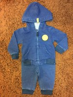 Wholesale French Jeans - Baby Clothes Two Pieces Set Hooded and Long Pants Jeans Long Sleeve Solid Pocket Infant Clothing
