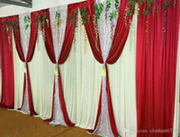 Wholesale Table Valance - 3m*6m wedding backdrop with sequins swags backcloth Party Curtain Celebration Stage curtain Performance Background wall valance