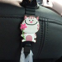 Atacado 2Pcs / Lot Cartoon Animal Style Car Back Seat Gancho Holder Gancho para Bolsa Bolsa Swier Autopeque Auto Fixador Clip Clas NXH1778