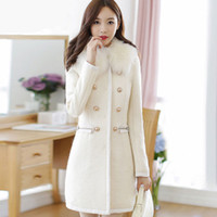 Wholesale Thick Faux Fur Hat - 2017 Fur collar winter coat women casaco feminino abrigos mujer A-Line classic Double Breasted White coat Basic Jackets overcoat FS1943