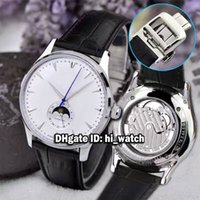 Wholesale Thinnest Automatic Watch - Super Clone Brand Luxury Master Ultra Thin Moon 1368420 White Dial Q1368420 Moon Phase Automatic Mens Watch Leather Strap Gents Watches