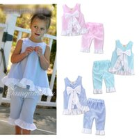 Wholesale grid girl outfits - 2017 New summer Kids INS grid set girl lattice outfits Petals side big bow vest and pant suit baby clothes
