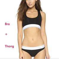 Wholesale Women Bra Thongs - Famous Brand Women Bra+Thong Underwear Set High Quality Cotton Seamless Sexy Lady Bra Suit for Girls
